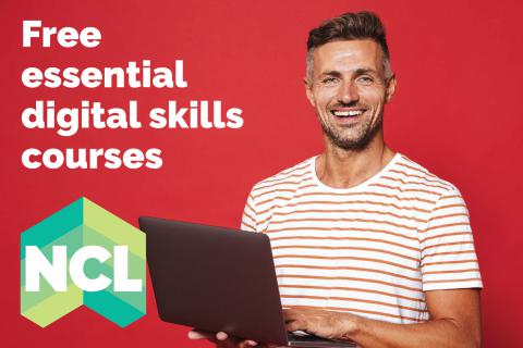 Photograph of a learner with a laptop advertising free digital skills courses